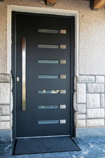 Fiberglass Modern Contemporary Front Entry Door Vertical Lites