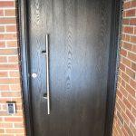 Modern Contemporary Front Entrance Door, Woodgrain Single Door installed by modern-doors.ca