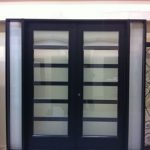 Modern Contemporary Front Entry Fiberglass Doors with 2 Side Lites and Frosted Glass by modern-doors