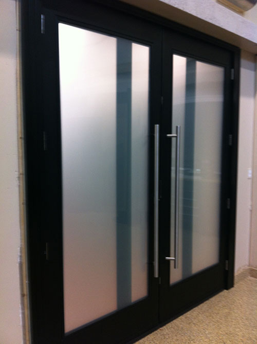 Modern contemporary front entry fiberglass double doors for Modern exterior doors