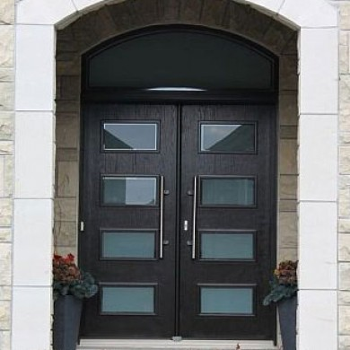 Modern contemporary front entry wood doors with transom for Modern front entry doors