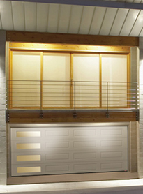 Modern Contemporary Garage Doors-Left Harmony Window Layout Modern Garage Door in Maple, Ontario by www.modern-doors.ca