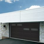 Modern Contemporary Garage Doors-Offset Window Layout Modern Garage Doors in Oakville, Ontario by www.modern-doors.ca