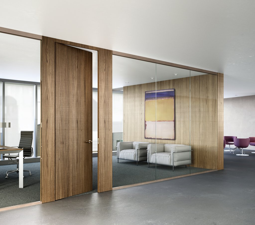 Modern contemporary fiberglass and glass design interior doors for Office wall interior