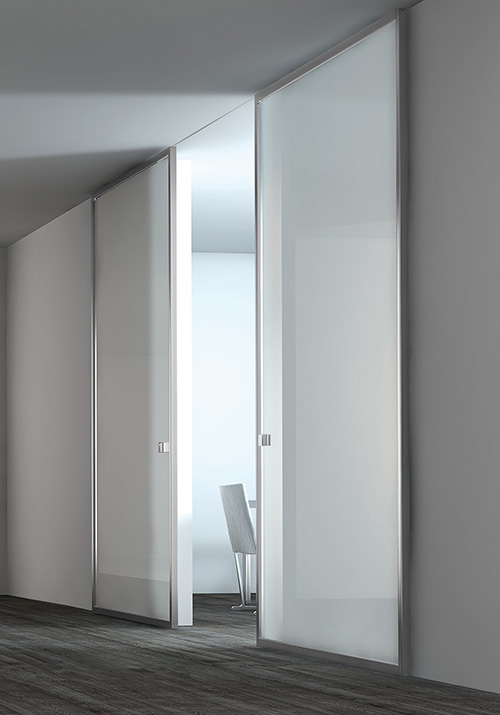 Modern Contemporary Interior Sliding Clear Glass Doors