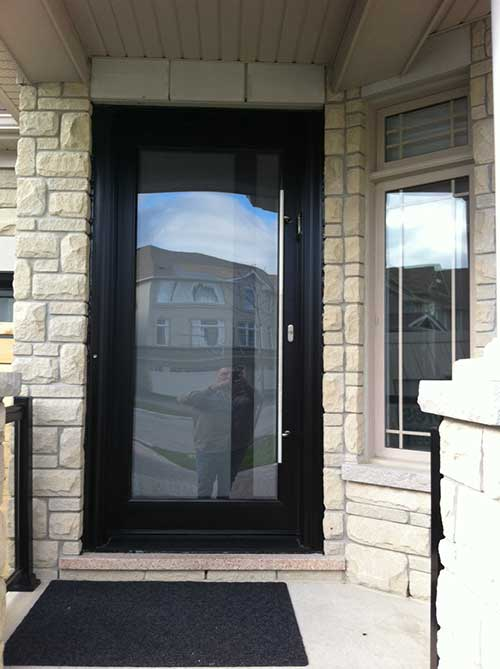 Modern contemporary frosted glass front fiberglass door for Residential front doors with glass