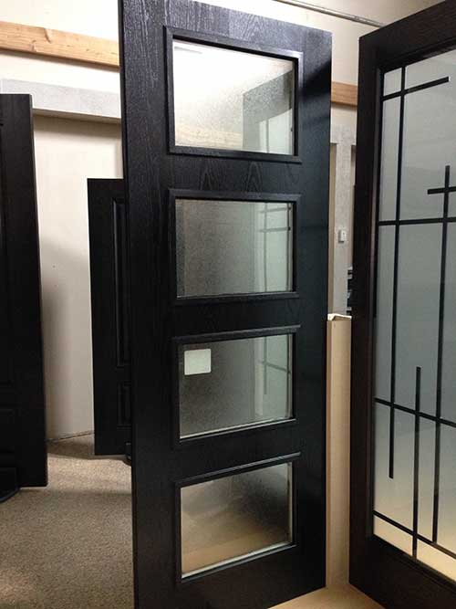 Modern Fiberglass Woodgrain And Glass Door