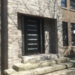 Modern Contemporary Door- Modern Custom Fiberglass Door with 2 Side Lites & horizontal strips installed in Toronto, Ontario by Modern-doors