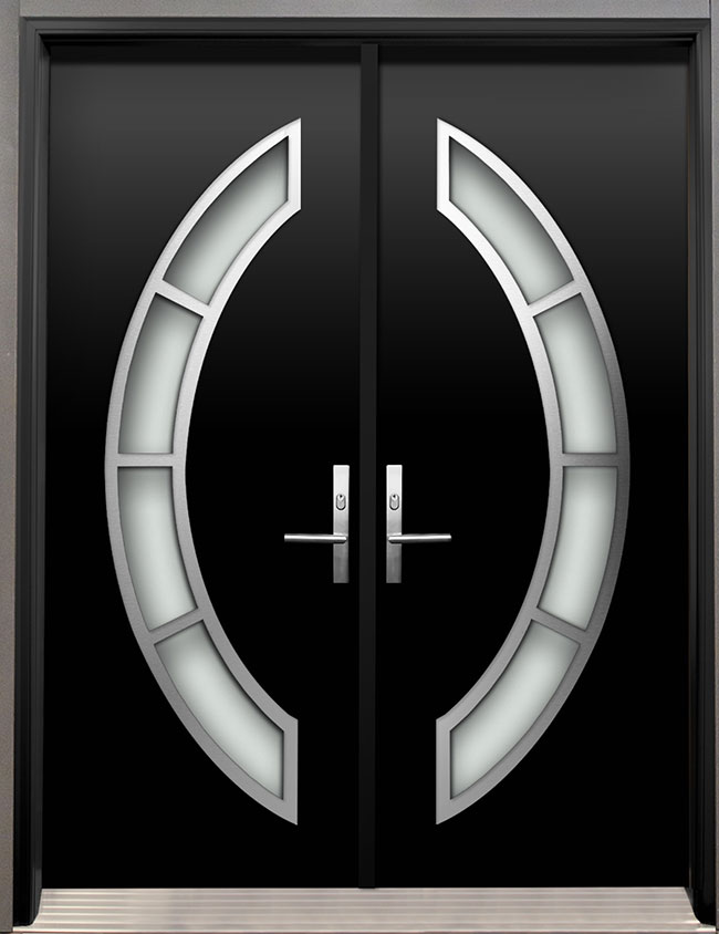 Modern Wood Door With Stainless Steel Arch Design