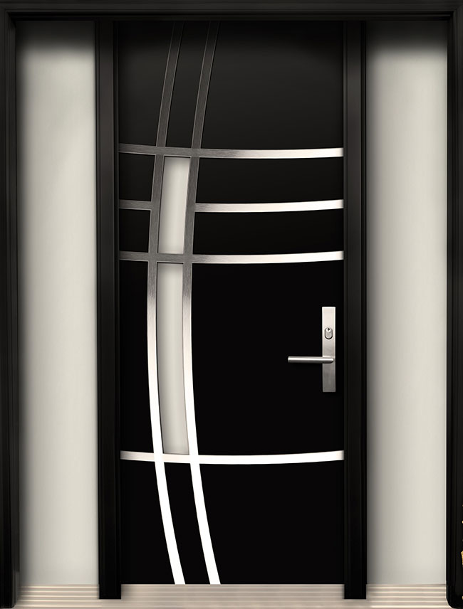 Modern wood door with stainless steel design for Modern single front door designs for houses