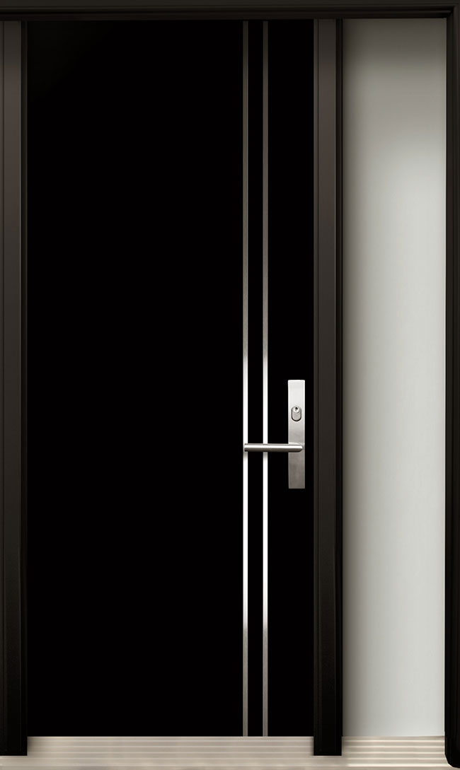 Modern Wood Door With Stainless Steel Design