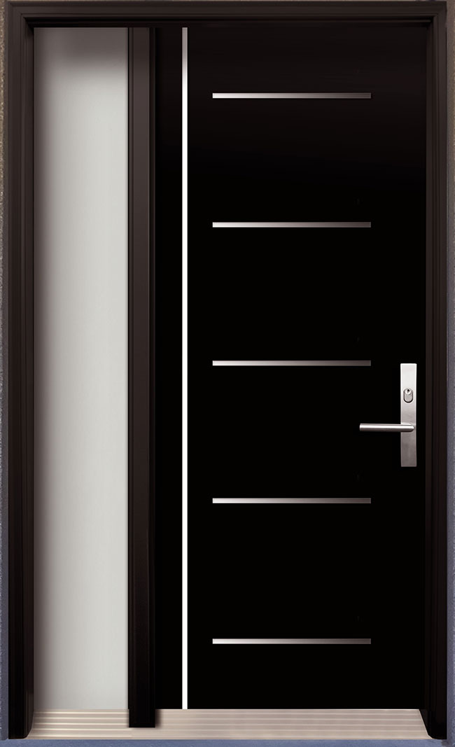 Modern contemporary door modern wood door with stainless for Modern exterior doors