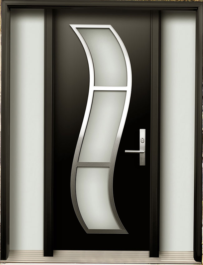 Modern contemporary door modern wood door with stainless for Modern design main door