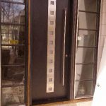 Modern Contemporary Fiberglass Door with Steel Stripes and 2 side lites installed in Toronto, Ontario-by modern-doors.ca-Picture#MED178