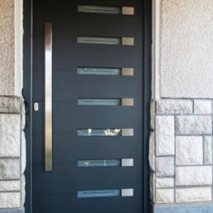 Modern Contemporary Single Fiberglass Door with Horizontal Stripes Installed in Richmond Hill, Ontario by Modern-doors.ca-Picture#169