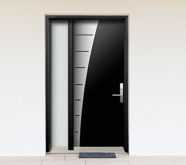 Modern contemporary wood door with stainless steel design for Contemporary door designs
