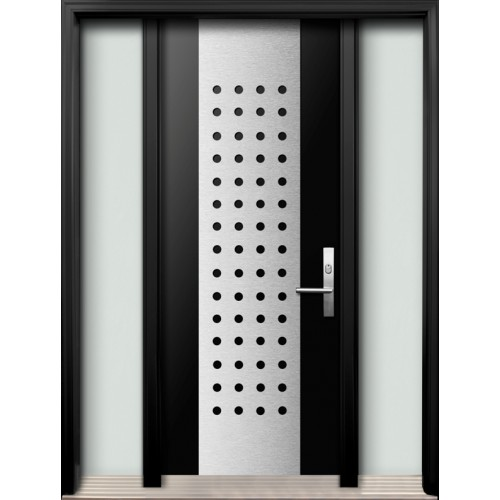 Modern Fiberglass Double Doors With Stainless Steel Design