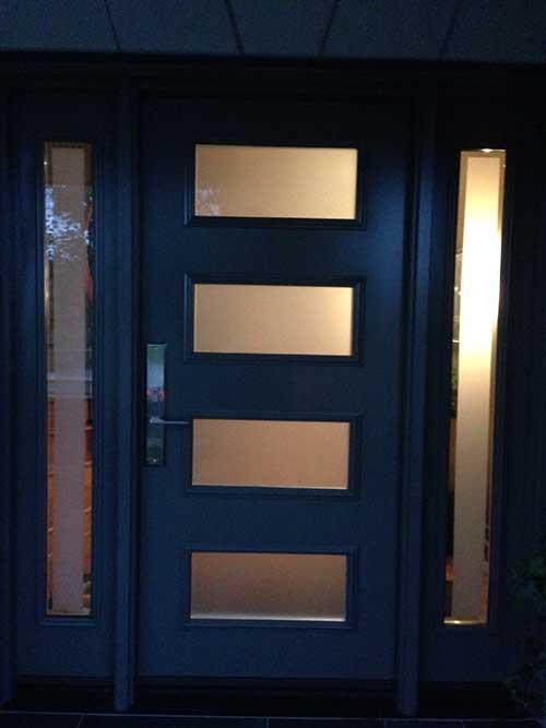 Modern single fiberglass door with 2 side lites and for Modern single door designs with glass