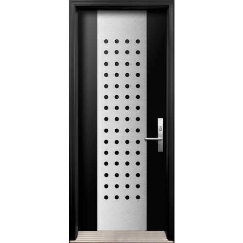 Modern Single Fiberglass Smooth Door With Stainless Steel