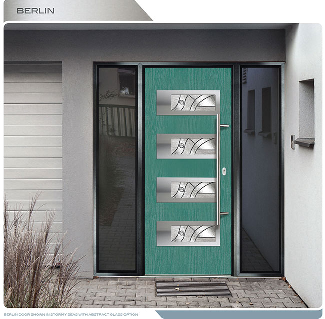 Modern Entrance Door Fiberglass Modern Door With 4