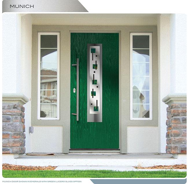 Modern Fiberglass Woodgrain Entry Door With Steel Plate