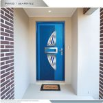 Mississauga Modern Front Door- Fiberglass Modern Door with beautiful Arch Design and stainless Steel Plates with 3 lites installed in Newmarket by Modern-doors