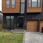 Front Entry Doors- Modern Front Entry Doors with 2 Side Lites and Transom instaled in Toronto by Modern-doors.ca