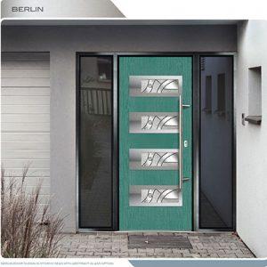 Woodbridge Modern Doors-Modern Entrance Door- Fiberglass Modern Door with 4 Horizontal lites installed in Thornhill by modern-doors