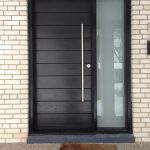 Front Entrance Door-Modern Door- Entry Front Door-Modern Fiberglass Door Frosted side lites installled in Aurora by modern-doors.ca
