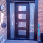 Front Entry Door-Modern Door-Modern Fiberglass Door with 4 Door Lites and 2 Frosted Side Lites Installed in Burlington-Ontario by modern-doors.ca