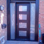 Front Entry Door-Modern Door-Modern Fiberglass Door with 4 Door Lites and 2 Frosted Side Lites Installed in Burlington-Ontario by modern-doors.ca
