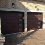 Modern Garage Doors-Fiberglass Modern Double Garage Door with 4 lites installed in Oakville-Ontario by modern-doors.ca