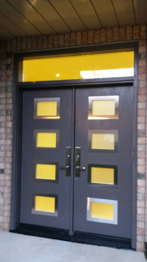 Modern exterior door with 8 door lites and stainless steel for Outside doors and frames