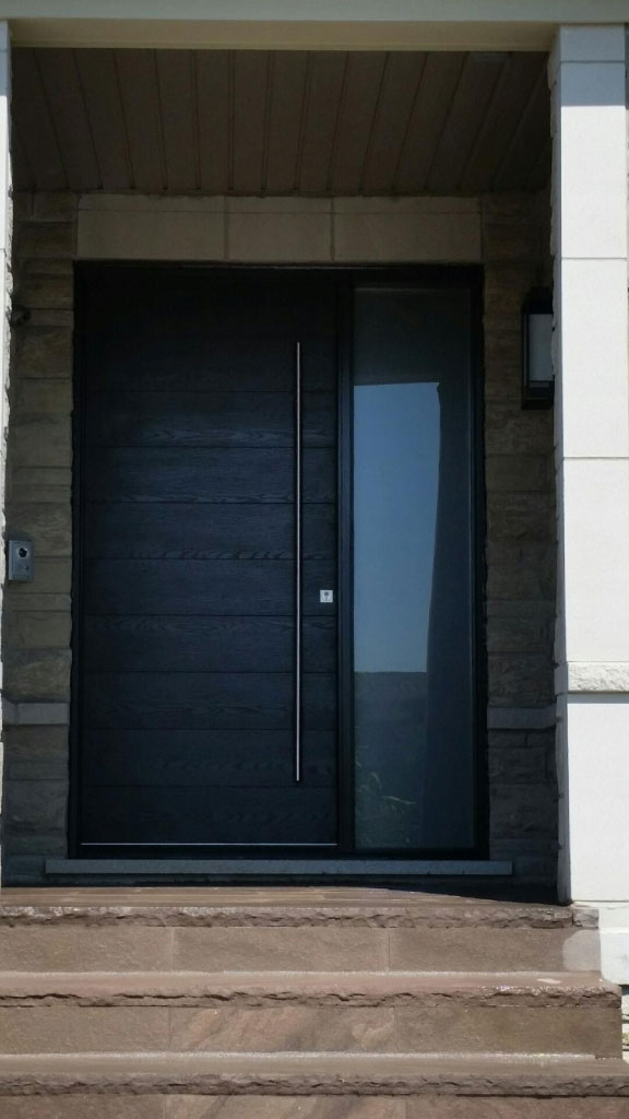 Modern exterior front door modern rustic woodgrain front for Modern single front door designs for houses