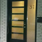 Modern Fiberglass Door with 6 Frosted Door Lites and Side lite installed in Toronto