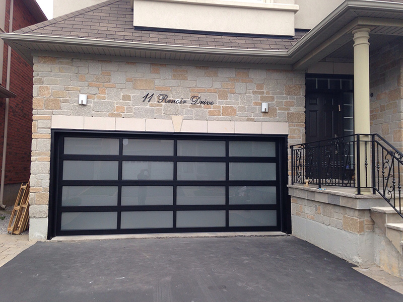 Modern Aluminum Glass Garage Door With Frosted Door Lites