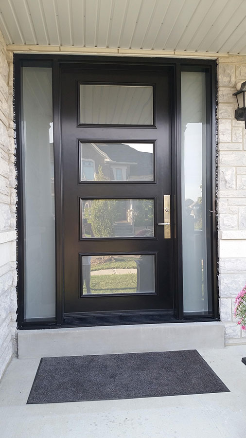 modern exterior door with multi point locks 4 door lites and 2 side lites installed in toronto by modern doors - Modern Exterior Doors