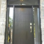 Fiberglass Doors-Modern Woodgrain Fiberglass Door with 2 Clear Side Lites and Transom Installed in Scarborough