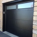 Modern Fiberglass Garage Doors-Modern Garage door with frosted door lites manufactured and installed by modern-doors