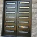 Modern Fiberglass Woodgrain Double Doors with Clear Door Lites and Multipoint Locks
