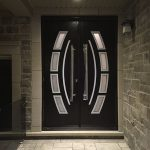 Custom Design Modern Doors with Arched Designed door lites and stainless steel door handles