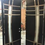 Modern Barcelona Design Doors-Stainless Steel design Modern Doors with Frosted Door Lite During Manufacturing by Modern Doors