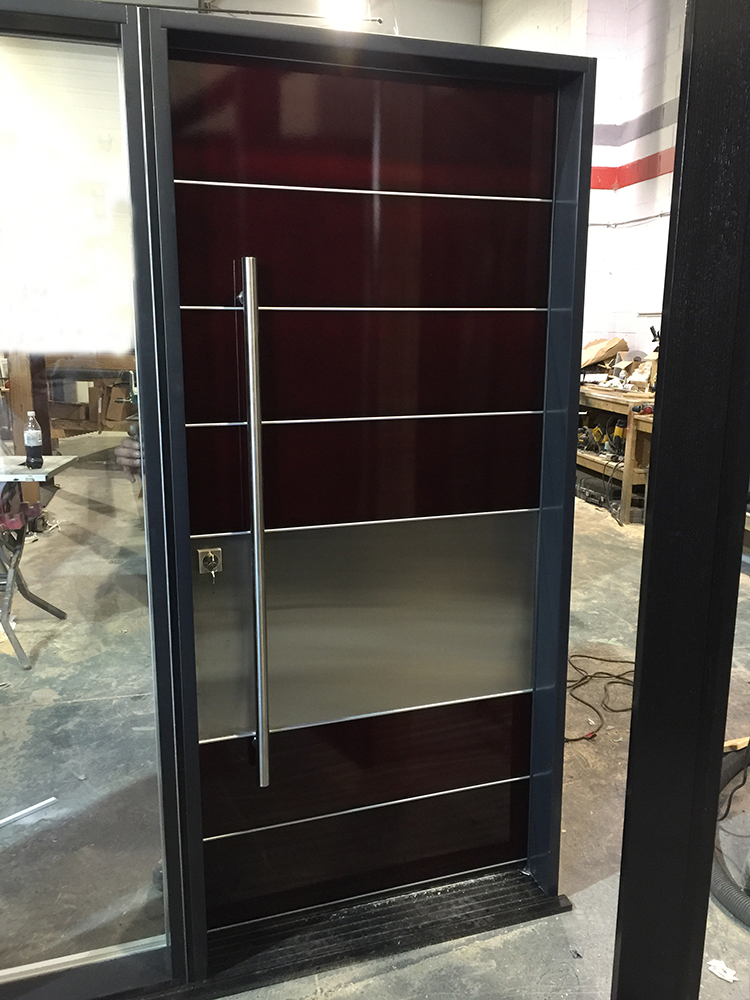 Modern Aluminum Powder Coated Door With Stainless Steel