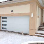 Modern White Garage Door with side lites installed in Midland Ontario