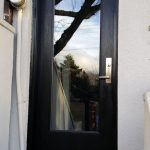 Modern Woodgrain Door with Clear Glass and Multi Point Locks installed in Richmond Hill