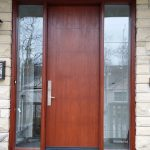 Modern Exterior woodgrain rustic door with 2 sidelites and multi point locks