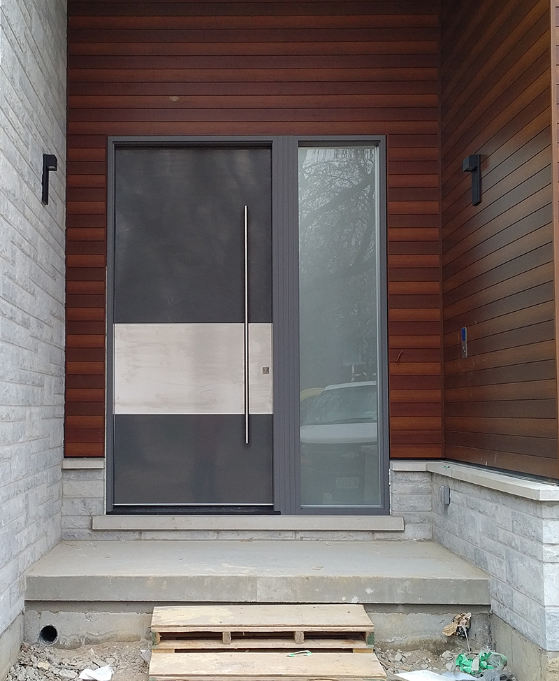 Modern exterior 10 feet door with stainless steel bar for Steel front entry doors