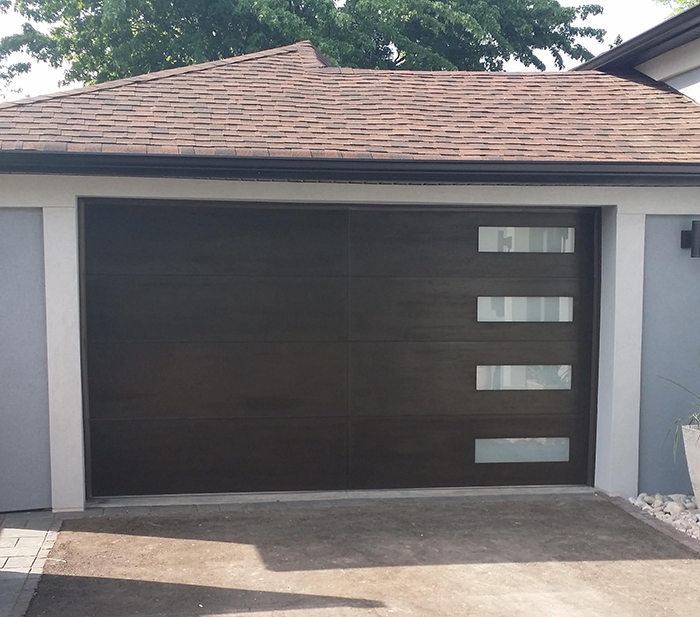 Modern Fiberglass Garage Woodgrain Door With 4 Frosted