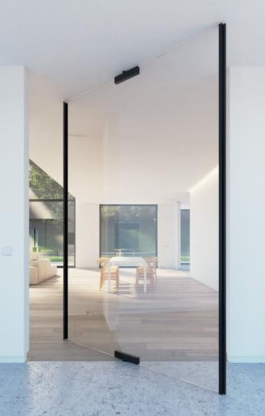 Frameless Glass Pivot Interior Door