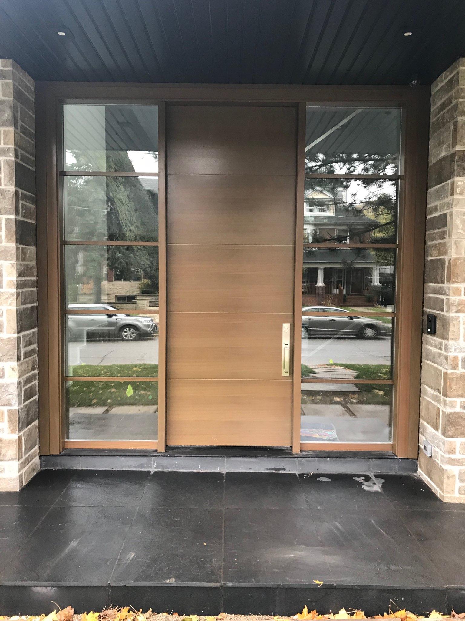 modern exterior single door double side light modern doors. Black Bedroom Furniture Sets. Home Design Ideas